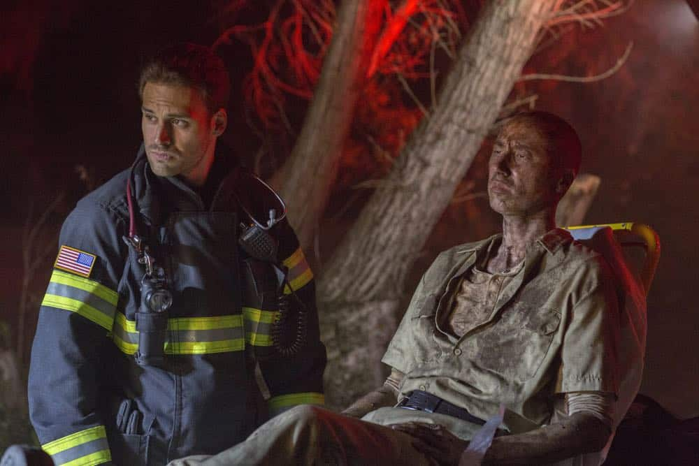"9-1-1: L-R: Ryan Guzman and guest star Rick Avery in the ""Haunted"" episode of 9-1-1 airing Monday, Oct. 29 (9:00-10:00 PM ET/PT) on FOX. © 2018 FOX Broadcasting. CR: Jack Zeman / FOX."