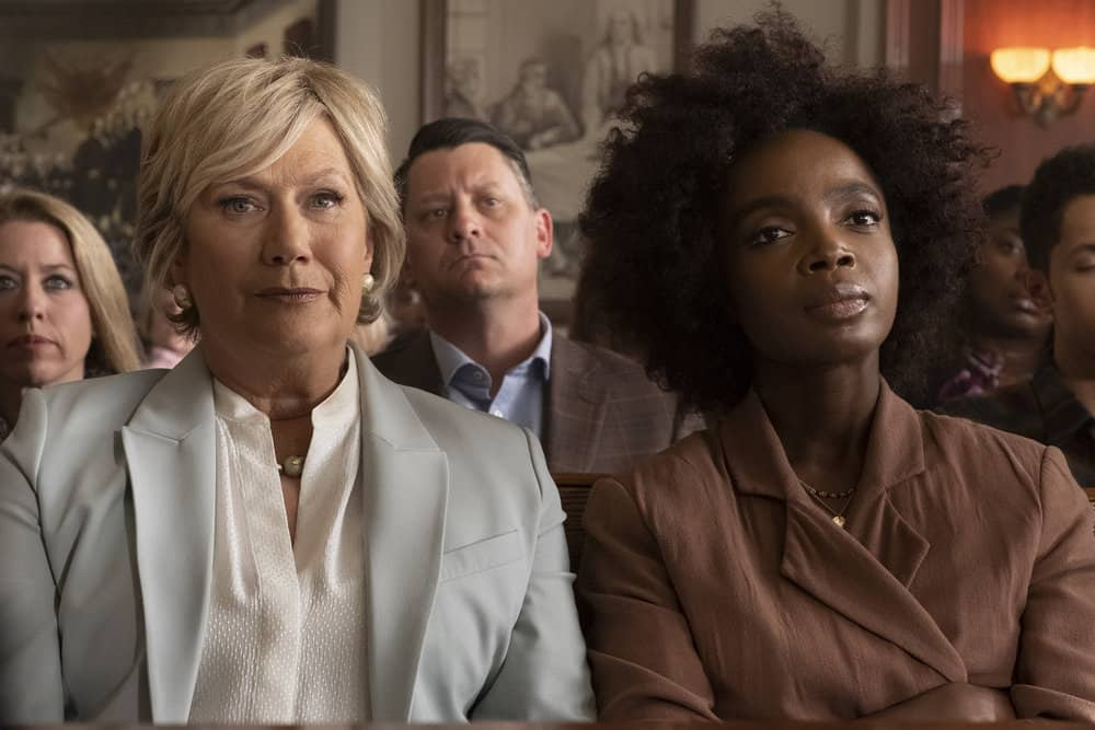 "BLUFF CITY LAW -- ""Pilot"" Episode 101 -- Pictured: (l-r) Jayne Atkinson as Della Bedford, MaameYaa Boafo as Briana Johnson -- (Photo by: Jake Giles Netter/NBC)"
