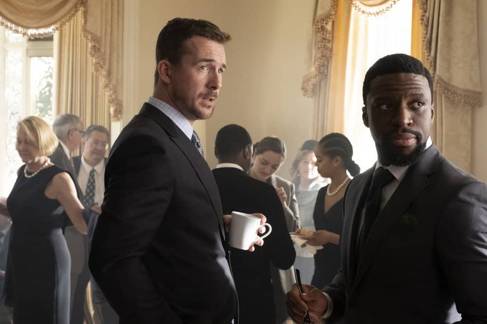 "BLUFF CITY LAW -- ""Pilot"" Episode 101 -- Pictured: (l-r) Barry Sloane as Jake Reilly, Michael Luwoye as Anthony Little -- (Photo by: Jake Giles Netter/NBC)"