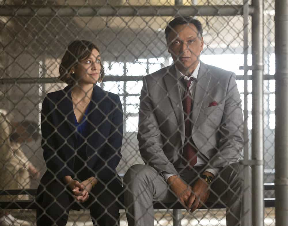 "BLUFF CITY LAW -- ""Pilot"" Episode -- Pictured: (l-r) Caitlin McGee as Sydney Strait, Jimmy Smits as Elijah Strait -- (Photo by: Jake Giles Netter/NBC)"
