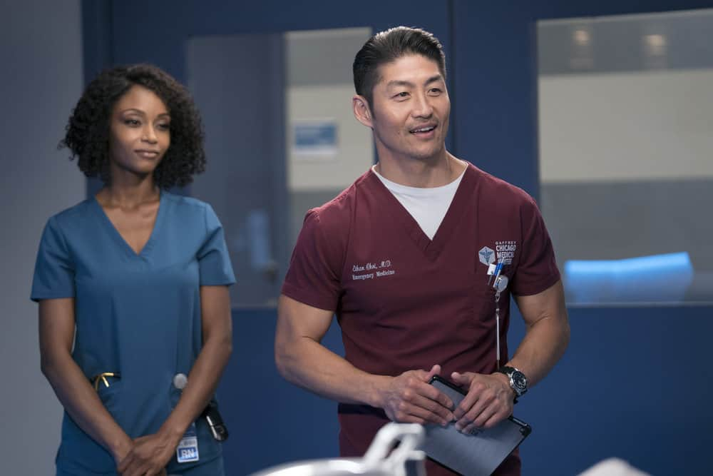 """CHICAGO MED -- """"Never Going Back To Normal"""" Episode 501 -- Pictured: (l-r) Brian Tee as Dr. Ethan Choi -- (Photo by: Elizabeth Sisson/NBC)"""