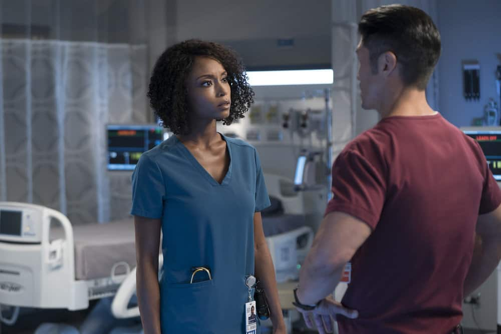"""CHICAGO MED -- """"Never Going Back To Normal"""" Episode 501 -- Pictured: (l-r) Yaya DaCosta as April Sexton, Brian Tee as Dr. Ethan Choi -- (Photo by: Elizabeth Sisson/NBC)"""