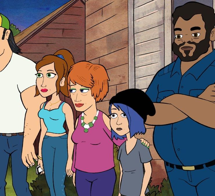 """BLESS THE HARTS: A new half-hour animated comedy that follows the Harts, a Southern family that is forever struggling to make ends meet, but have everything they need. Wayne, Jenny's boyfriend, is hurt when he discovers that Violet, Jenny's daughter, is featuring her biological father in her comics. Wayne is determined to show how much he cares about Violet by building her the treehouse of her dreams in the """"Hug N' Bugs"""" series premiere episode of BLESS THE HARTS airing Sunday, Sept. 29 (8:30-9:00 PM ET/PT) on FOX. L-R: Wayne (Ike Barinholtz), Jenny (Kristen Wiig), Betty (Maya Rudolph), Violet (Jillian Bell) and Leonard (Gary Anthony Williams). BLESS THE HARTS ™ and © 2019 TCFFC ALL RIGHTS RESERVED. CR: FOX"""