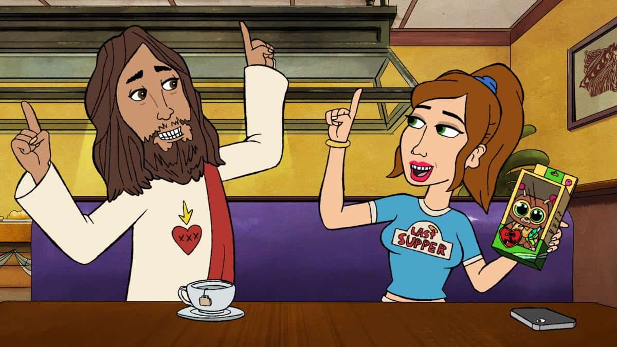 "BLESS THE HARTS: A new half-hour animated comedy that follows the Harts, a Southern family that is forever struggling to make ends meet, but have everything they need. Jenny speaks with Jesus about a secret of her mother's that may help her pay off the family's overdue bills in the ""Hug N' Bugs"" series premiere episode of BLESS THE HARTS airing Sunday, Sept. 29 (8:30-9:00 PM ET/PT) on FOX. L-R: Jesus (Kumail Nanjiani) and Jenny (Kristen Wiig). BLESS THE HARTS ™ and © 2019 TCFFC ALL RIGHTS RESERVED. CR: FOX"