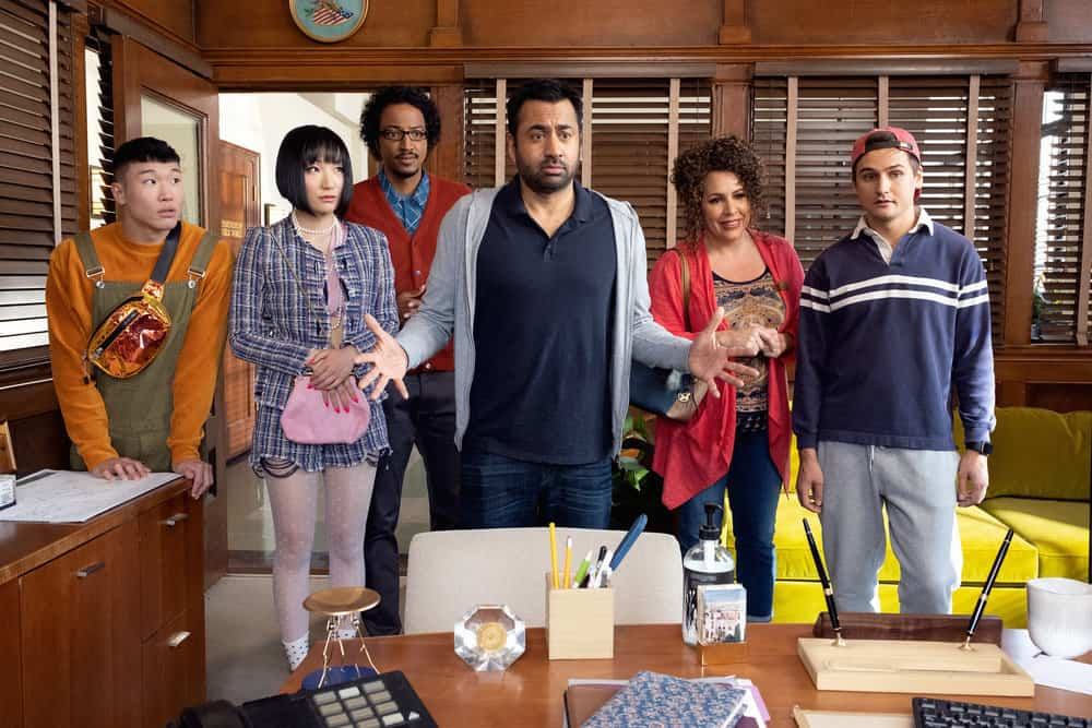 "SUNNYSIDE -- ""Pilot"" Episode -- Pictured: (l-r) Joel Kim Booster as Jun Ho, Poppy Liu as Mei Lin, Samba Schutte as Hakim, Kal Penn as Garrett, Diana Marie Riva as Griselda, Moses Storm as Brady -- (Photo by: Colleen Hayes/NBC)"