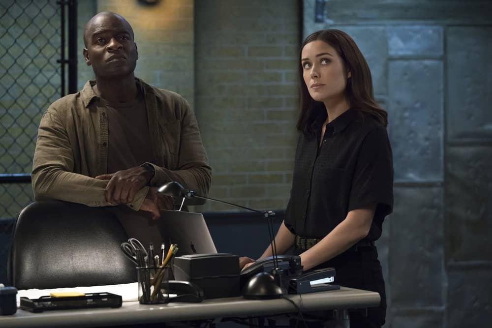 "THE BLACKLIST -- ""Louis T. Steinhil (#27)"" Episode 701 -- Pictured: (l-r) Hisham Tawfiq as Dembe Zuma, Megan Boone as Elizabeth Keen -- (Photo by: Virginia Sherwood/NBC)"