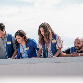 "SUPERSTORE -- ""Cloud 9.0"" Episode 501 -- Pictured: (l-r) Ben Feldman as Jonah, America Ferrera as Amy, Nichole Bloom as Cheyenne, Colton Dunn as Garrett -- (Photo by: Eddy Chen/NBC)"