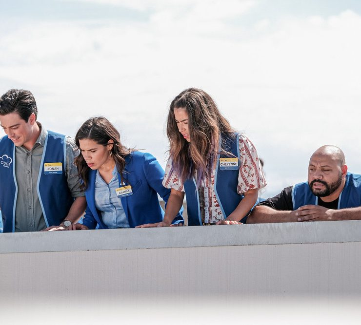 "SUPERSTORE -- ""Cloud 9.0"" Episode 501 -- Pictured: (l-r) Ben Feldman as Jonah, America Ferrera as Amy, Nichole Bloom as Cheyenne, Colton Dunn as Garrett -- (Photo by: Eddy Chen/NBC)"